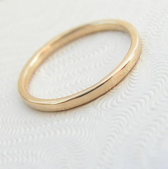 9kt yellow gold band thin wedding band stacking ring