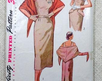 Vintage sewing Pattern Simplicity 3546 1950s dress 1951 Bust 32 bolero Wiggle Skirt Sleeveless Retro Rockabilly notched neckline stole
