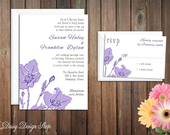 Wedding Invitation - Flower Sketch - Vintage Botanical - Customizable Colors - Invitation and RSVP Card with Envelopes