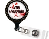Vein Whisperer Phlebotomist Black Retractable ID Tag Badge Reel