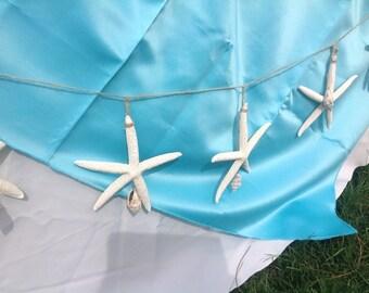 Starfish Garland, Starfish Decor, Nautical Garland, Nautical Decor, Beach Wedding, Large Starfish, Seashell Decor, Seashell Garland, Sea