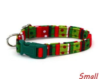 Christmas Dog Collar - Festive Green and Red Stripes - Mini Small Medium Large XL Dog Collar