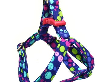 Step In Dog Harness - Grape Soda Polka Dots - Mini Small Medium Large XL Dog Harness