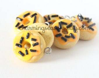 Orange Iced Donut Charm, Candy Corn Halloween Holiday Polymer Clay Doughnut Food Jewelry