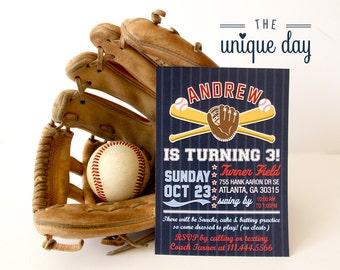 Baseball Birthday Party Invitation, Baseball - Custom, Personalized, Printable Card,Custom Printed Invitations // BAS-01