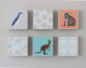 nursery art- art for kids room l Choose (6) SIX of our Custom Designs 5x5 Australia blue orange nursery decor- redtilestudio
