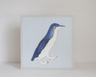 penguin art for nursery - arctic animals- 5x5 art block-  nursery art, nursery decor, gender neutral baby- decor for baby- nursery wall art