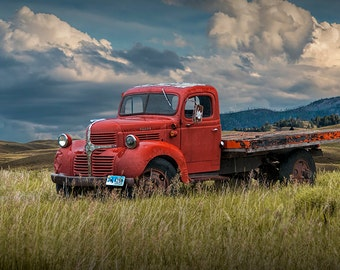 Vintage Red Dodge Truck with Wyoming License Plates No.11072 An Auto Fine Art Western Landscape Photograph
