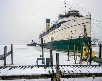 SS Keewatin Passenger Liner on a Winter Foggy Morning docked on Kalamazoo Lake in Saugatuck Michigan No.FS1 Seascape Fine Art Photography