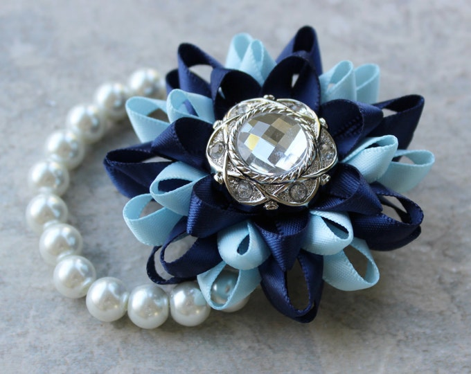 Wrist Corsage, Navy Blue Corsage, Navy Blue Flower Bracelet, Light Blue, Baby Blue and Dark Blue Wrist Flower, Stretch Bracelet, Handmade