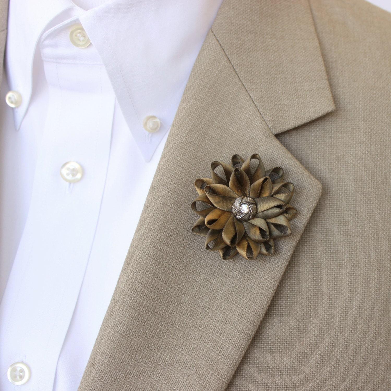 Mens Lapel Flower Mens Flower Lapel Pin Dark Gold