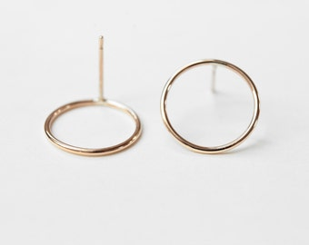 Circles - gold earrings - minimalist circle yellow gold stud earrings