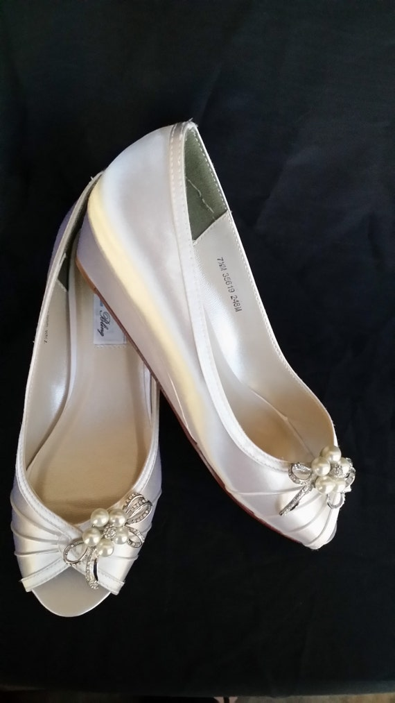Wedding Shoes Wedge Shoes Bridal Wedges With Pearl And Crystal