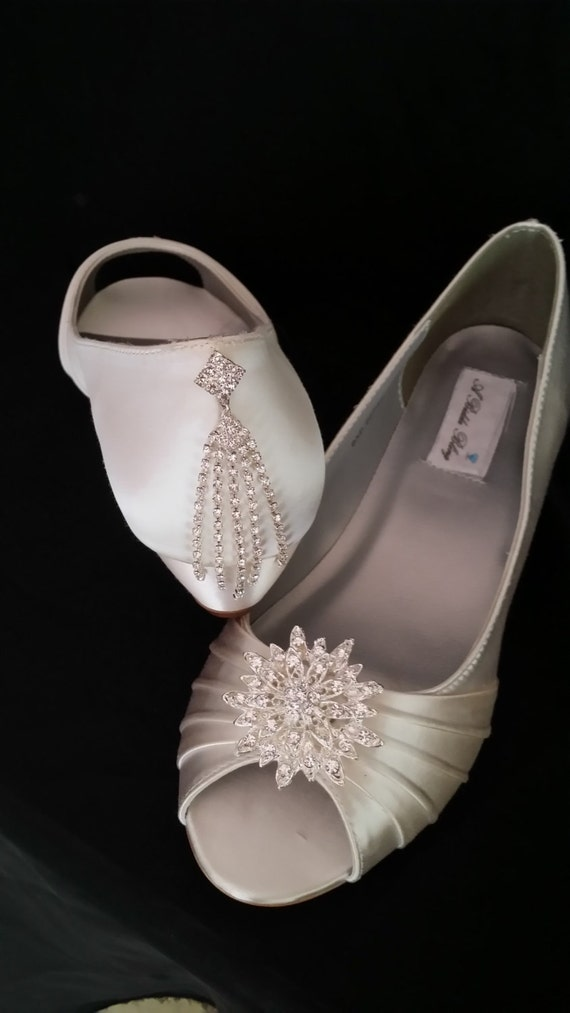Wedding Shoes Wedge Shoes Bridal Wedges With Crystal Burst