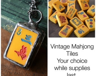 Vintage Game Pieces, Mahjong Jewelry, Mah Jong Tiles, Chinese Vintage Game Pieces, Bakelite, Numbers, Dragons (2240)