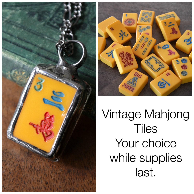 Mahjong Vintage Game Pieces Mahjong Jewelry Mah Jong Tiles