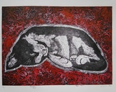Dreamy Cat Art Print Limited Edition Hand-Pulled Collograph