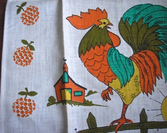 Vintage Linen Dish Towel, Rooster and Chicks,  original tags
