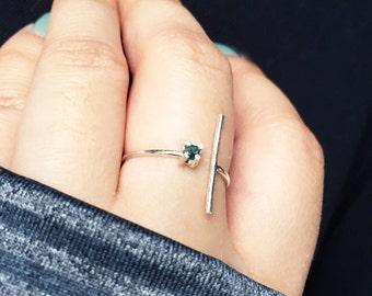 Blue Diamond Ring Sterling Silver Bar Ring Rough Stone Raw Gem Dainty Minimalist Line Ring Prong Setting