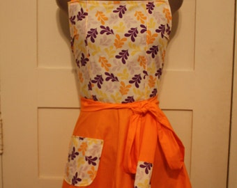 Orange and Purple Full Apron, Leaf Print Apron, Women's Apron, Festive Apron, Traditional Apron, Craft Apron, Unique Christmas Gift for Her