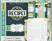 RECIPE BINDER Kit Printables, HALF Size 8.5x5.5 with Recipe Pages, Category Dividers and Tabs - Printable Instant Download