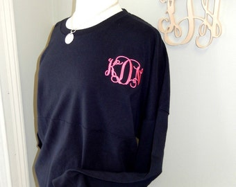 Monogram Long Sleeve Tee Tshirt Gameday Jersey Plus Size up to 2XL