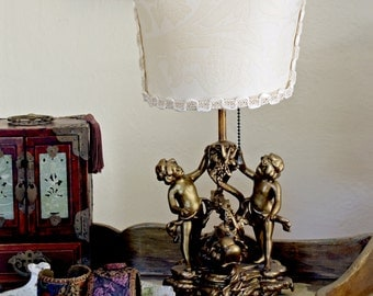 Antique Putti Lamp - Fortuny Shade - STUNNING