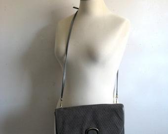 Vintage 1970s Handbag Gray Textured Suede Leather Clutch w-Shoulder Strap Cuir Sacs a Main