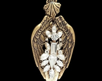 Fallen Angel Wings Fantasy Necklace in Ox Brass and White Crystals by Dr Brassy Steampunk