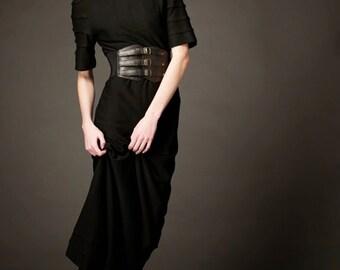 Vintage 60s Dress Maxi Black Knit Extra Long Tall Size XS / Small