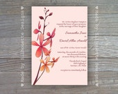 Wedding, Bridal Shower, Baby Shower Invitation-Pink and Orange Orchid-Digital Printable File OR Professionally Printed Cards
