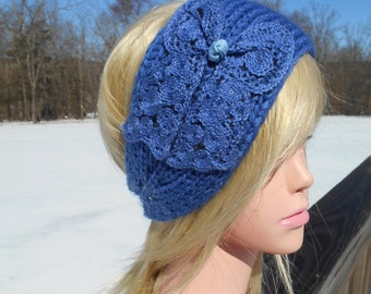 Knit Blue Headband,   Bow Applique, Sequins, Ear Warmer, Fashion Winter Headband Fits up to Teens