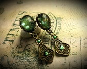 Forest Sage Green Crystal Rhinestone Dangle Drop Victorian Earrings Antique Bronze Filigree Titanic Temptations Vintage Bridal Style Jewelry