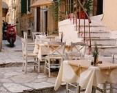 Greece Photography  - Greek Taverna Print - Corfu Photo - Cafe Art - Kitchen Decor - Mediterranean Wall Art Rustic Fall Decor Travel