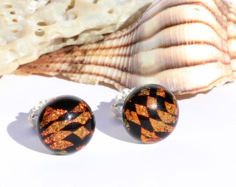 "Small Dichroic Glass Stud Earrings, Fused Glass Jewelry, Sterling Silver Posts - Tribal, Orange, Black, 3/8"" or 9.5mm (Item #30898-E)"