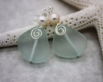 Aqua Sea Glass Earrings Seaglass Earrings Sea Glass Jewelry Beach Glass Earrings Beach Glass Jewelry Beach Jewelry Seaglass Jewelry Maui 094