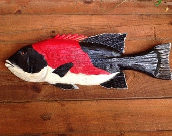 """California Sheepshead 36"""" Pacific Ocean fish chainsaw carving colorful centerpiece wall mount sealed art West Coast beach house decor"""
