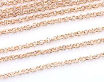 """32Ft Gold Plated Rollo Chain 2mm (1/8"""") - FD064"""