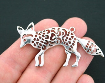Large Fox Charms Antique Silver Tone Open Heart Design Connector- SC4667