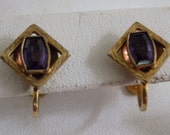 Antique earrings, amethyst and gold tone screw back earrings, Art Deco earrings, antique jewelry