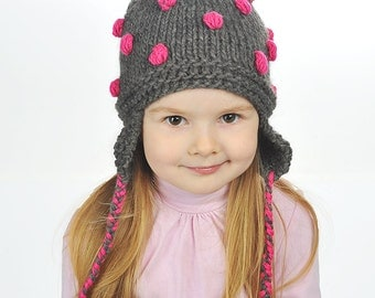 Hand Knitted Baby Toddler Camel Wool Hat Girls Boys Grey pink popcorn Bobbles, Pom pom Ear flaps warm – 0-3-6-9-12-18-24 months, 2T 3T 4T 5