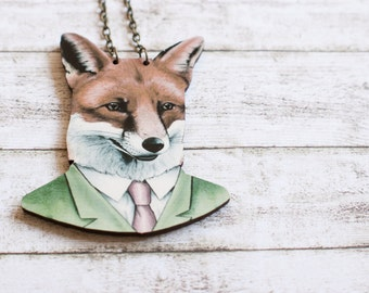 Fox necklace long necklace with a big fox in a suit wooden necklace and antiqued bronze chain