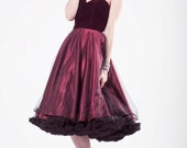 Ruby velvet, tulle and satin 1950's style dress