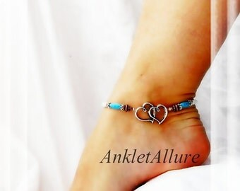Western Wedding Forever Southwestern Love Anklet Turquoise White Anklet Fusion Copper Silver Ankle Bracelet