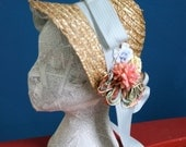 Spring Bouquet Straw Bonnet, Vintage Flower Accents: Easter, Reproduction or Costume