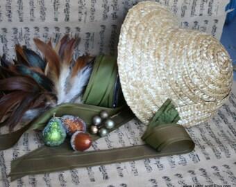 Victorian Straw Bonnet, Frosted Fruit DIY Hat Kit, Bo Peep Costume Kit