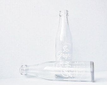 So-Grape 1940s Soda Pop - Vintage Glass Beverage Bottles - So Grape For Quick Energy - Nostalgic Advertisement - Collectible Clear Glass