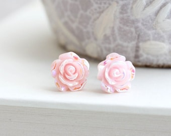 Pink Roses Studs Pretty Little Flower Earrings Iridescent Metallic Shimmer Sparkle Surgical Steel Posts Nickel Free Girly Rosebud
