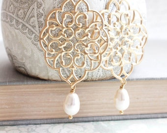 Gold Filigree Earrings Big Lace Dangle Earrings Pretty Modern Large Gold Chandelier with Pearl Drop Boho Bridal Jewelry Bridesmaids Gift