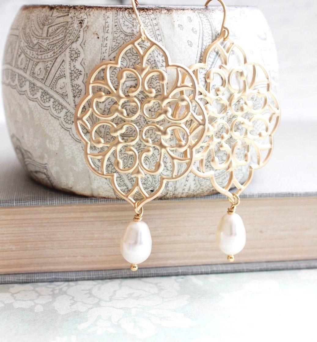 Gold Filigree Earrings Big Lace Dangle Earrings Pretty Modern